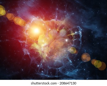 Colors in Space series. Backdrop composed of colorful clouds and space elements and suitable for use in the projects on art, creativity, imagination, science and design