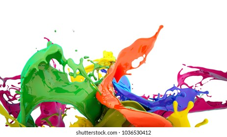 colors splash, 3d illustration