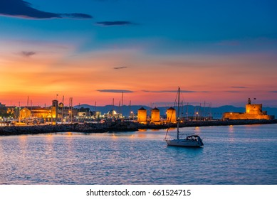 The colors of sunset and twilight in Rhodes, Greece