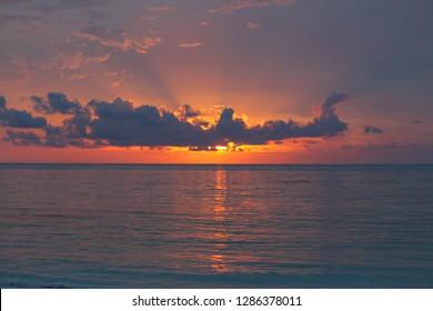 Colors of tropical sunset, Bahamas, Long Island, Bahamas