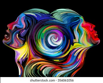 Colors of Unity series. Artistic background made of colorful and surreal human profiles for use with projects on love, passion, romantic attraction and unity