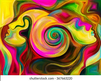 Colors of Unity series. Backdrop of  colorful and surreal human profiles to complement your design on the subject of love, passion, romantic attraction and unity