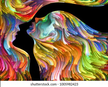 Colors In Us series. Interplay of Human profiles and swirls of colorful paint on the subject of emotion, passion, desire, feelings, inner world, imagination and creativity
