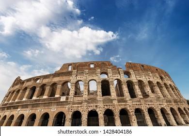 Colosseo of Rome, Amphitheatrum Flavium 72 a.D. Ancient Coliseum or Colosseum. UNESCO world heritage site. Latium, Italy, Europe
