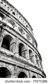 The Colosseum or Coliseum (Colosseo) in Rome. Monochrome photography.