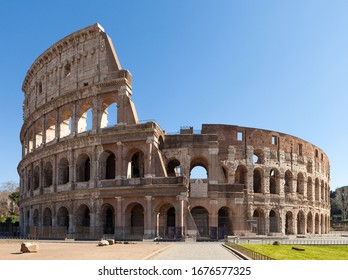 Colosseum or Coliseum (Flavian Amphitheatre or Amphitheatrum Flavium or Anfiteatro Flavio or Colosseo. Oval amphitheatre in the centre of the city of Rome, Italy