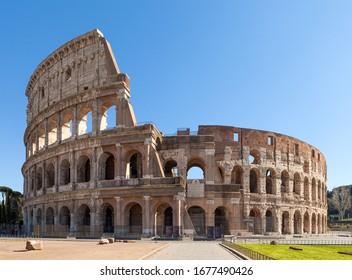 Colosseum or Coliseum (Flavian Amphitheatre or Amphitheatrum Flavium also Anfiteatro Flavio or Colosseo. Oval amphitheatre in Rome, Italy