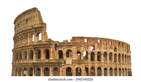 Colosseum, or Coliseum, isolated on white background. Symbol of Rome and Italy - Shutterstock ID 1943745520
