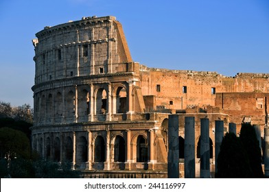 The Colosseum or Coliseum, also known as the Flavian Amphitheater. The largest amphitheater in the world.