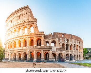 Colosseum, or Coliseum. Morning sunrise at huge Roman amphitheatre, Rome, Italy