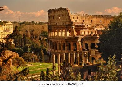 Colosseum or Coliseum near the Forum Romanum in Rome. Italy