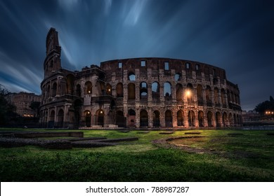 The Colosseum (Coliseum) at night. Rome, Italy. The Colosseum or Coliseum also known as the Flavian Amphitheatre or Colosseo, is an oval amphitheatre in the centre of the city of Rome