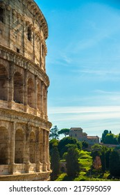Colosseum (Coliseum) in Rome, Italy. The Colosseum is an important monument of antiquity and is one of the main tourist attractions of Rome.