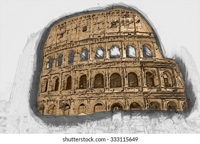 Colosseum (Coliseum) in Rome, Italy.  Painting of travel scene, pencil drawing outlines of background