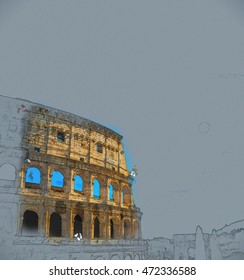 Colosseum Coliseum in Rome, Italy. Vintage painting, background illustration, beautiful picture, travel texture