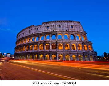 Colosseum or Coloseum at dusk from in front of Metro night, Rome Italy