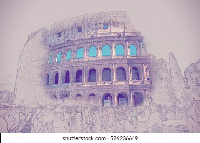 The Colosseum, an important monument of antiquity and is one of the main tourist attractions of Rome. Vintage painting, background illustration, beautiful picture, travel texture