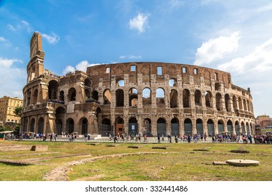 The Colosseum is a main tourist attraction in Rome in a summer day in Italy