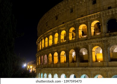 Colosseum night view, Rome landmark, Italy. Colosseo, Roma