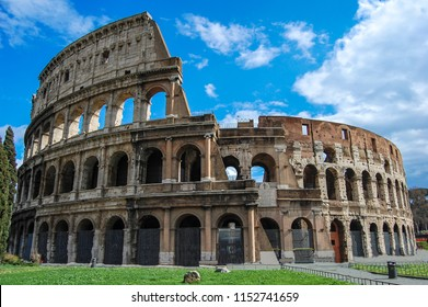 Colosseum on a clear day and no people