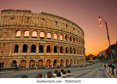 """The Colosseum (or """"Coliseum"""") also know as the Flavian Amphitheater, is an ancient Roman oval amphitheater in the center of Rome, Italy. Photo taken on February 2016"""