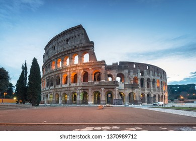 The Colosseum in Rome illuminated at dawn, Italy