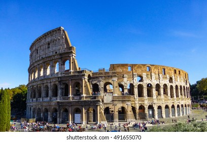Colosseum, Rome, Italy, with a clear blue sky