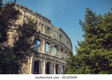 Colosseum in Rome, Italy, Europe, Vintage filtered style