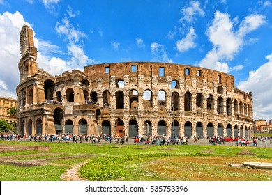 Colosseum in Rome, Italy. The Great Roman Colosseum also known as the Flavian Amphitheatre.