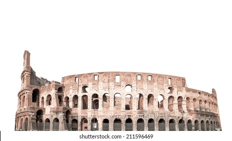 Colosseum in Rome, Italy isolated on white