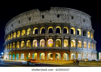 Colosseum in Rome, Italy - July 10, 2012: The Colosseum exterior at night, built of concrete and sand, it is the largest amphitheatre ever built.