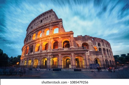 Colosseum in Rome, Italy - Long exposure shot. The Rome Colosseum was built in the time of Ancient Rome in the city center. It is the main travel destination and tourist attraction of Italy.