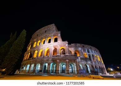 Colosseum in Rome at night, Italy