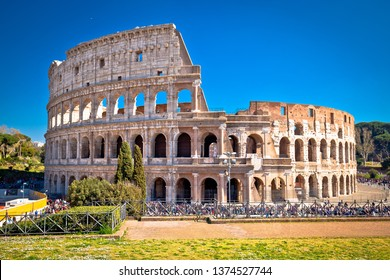 Colosseum of Rome scenic view, famous landmark of eternal city, capital of Italy