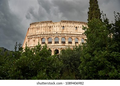 Colosseum in Rome with storm in the background