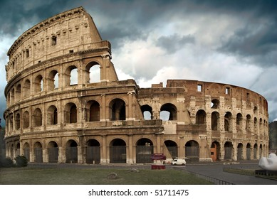 The Colosseum at a stormy day