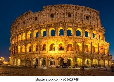 Colosseum at sunset. One of the best known architecture landmarks. Rome Colosseum is one of the main attractions of Italy.