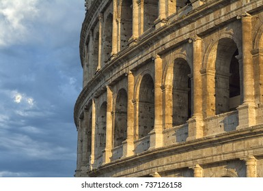 Colosseum at sunset, Rome. architecture and reference point. Rome The Colosseum is one of the main attractions of Rome and Italy