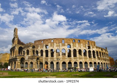 colosseum under blue sky and white cloud, Rome, Italy