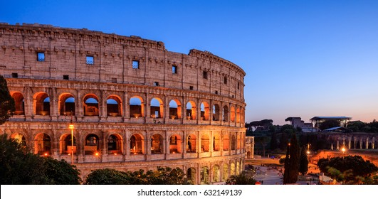 Colosseum view at night in Rome, Italy