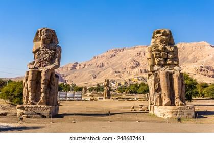 Colossi of Memnon (statues of Pharaoh Amenhotep III) near Luxor - Egypt