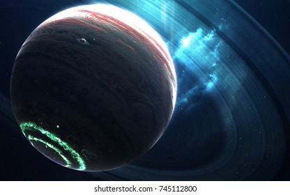 Colossus gas giant with small planets-satellites orbiting it. Elements of this image furnished by NASA