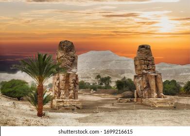 Colossus of Memnon sits in a field near Luxor, Egypt