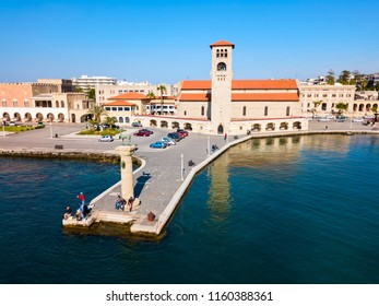 Colossus of Rhodes and Evangelismos Church or Ekklisia Evaggelismos aerial panoramic view in Rhodes island in Greece