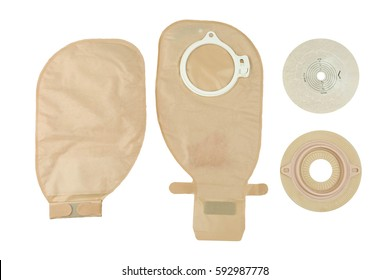 Colostomy bag and Colostomy baseplate for intestinal surgical patients, isolated on white.