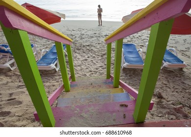 Colour in Barbados.  Public stairs leading down to beach at Speightstown on the west coast of Barbados highlight the Bajan love of colour.