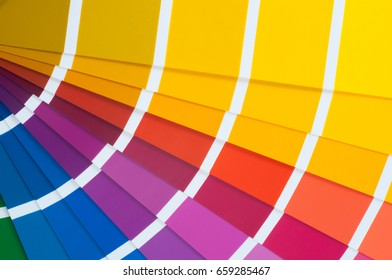 Colour card with samples of paint. Close-up of color fan palette