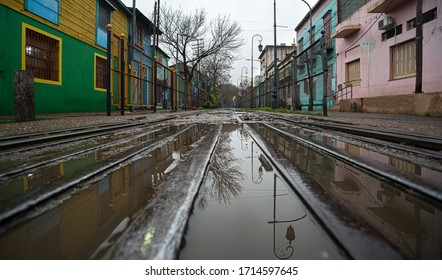 Colour cityskape train tracks and reflection in La boca Buenos Aires Argentina