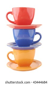 Colour cups from clay on a white background
