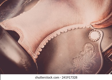 Colour detail of a handmade leather saddle